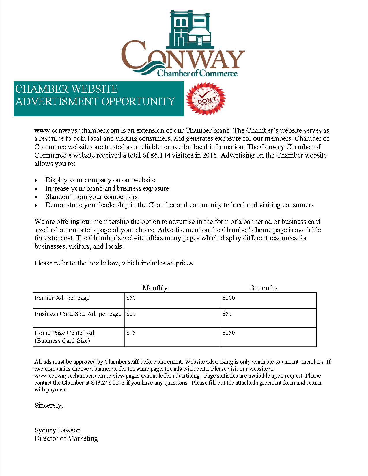 website advertisement letter | Conway Chamber of Commerce