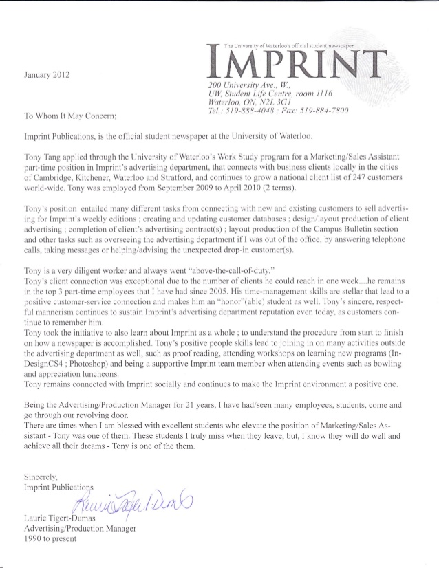 Imprint Reference Letter from Advertising Production and Operations