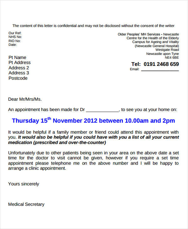 appointment reminder letter template medical 27 images of office