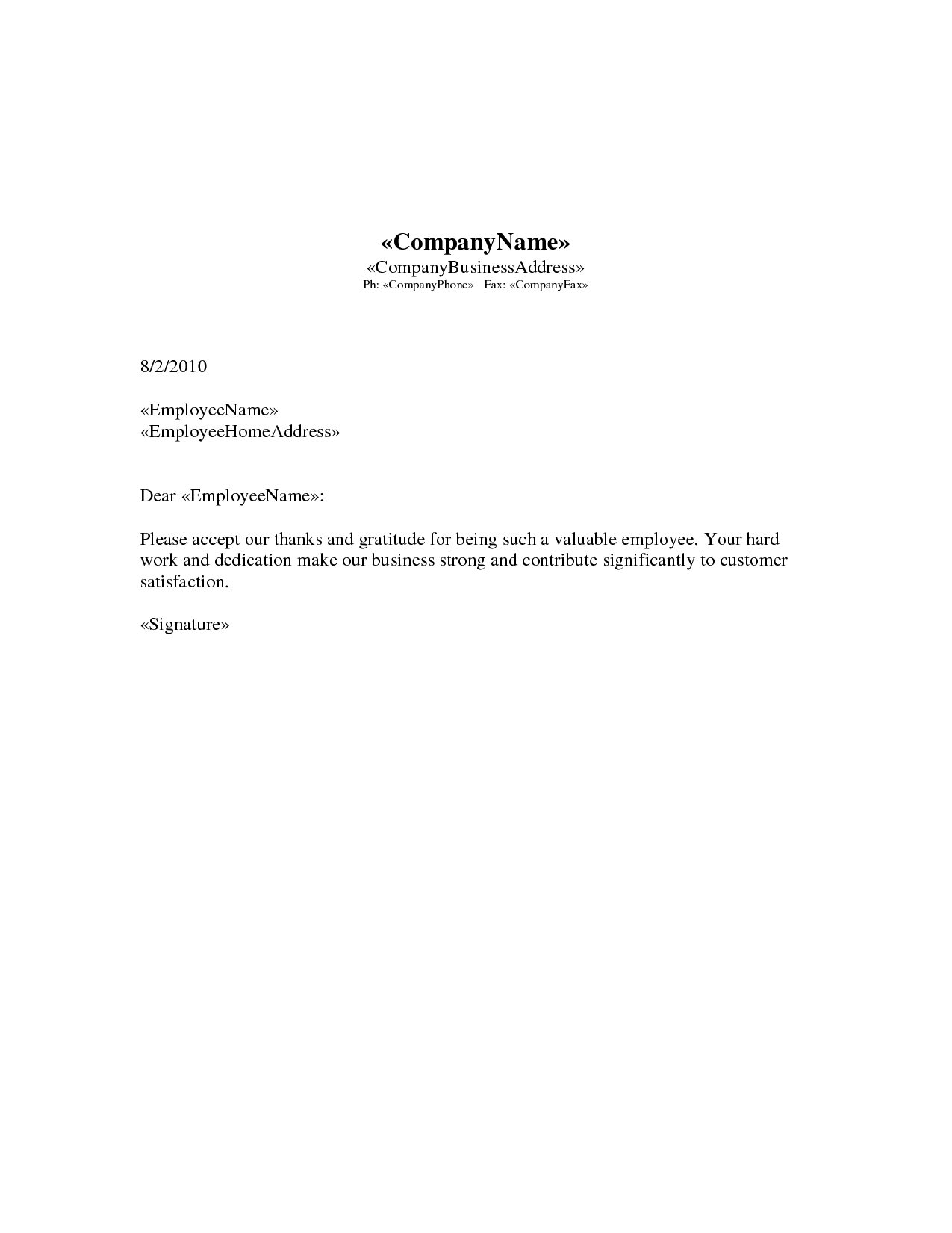 appreciation letter | images of employee appreciation letter doc