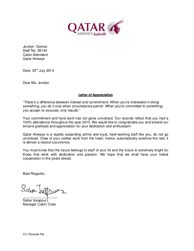 Letter of Appreciation 2013