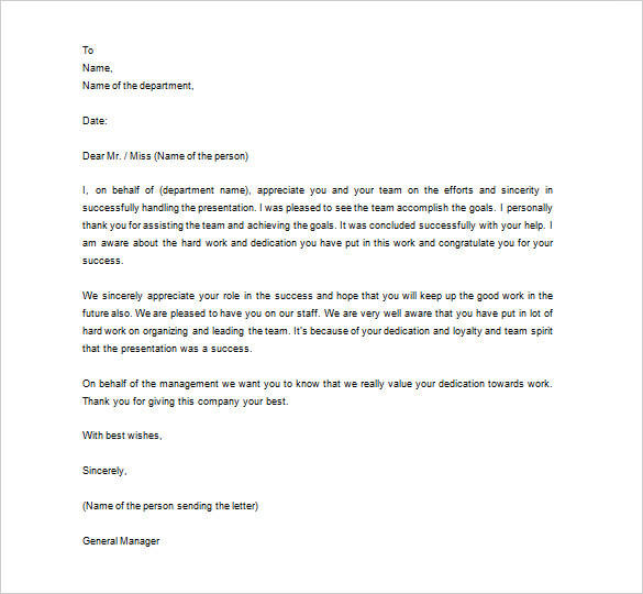Appreciation Letter To Staff | scrumps