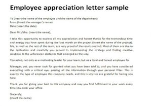 Similar Posts Sample Appreciation Letter To Employee