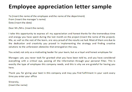 Employee appreciation letter sample | Just Letter Templates