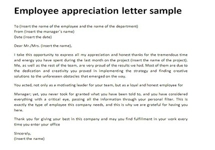 Employee Appreciation Letter | All about Letter Examples