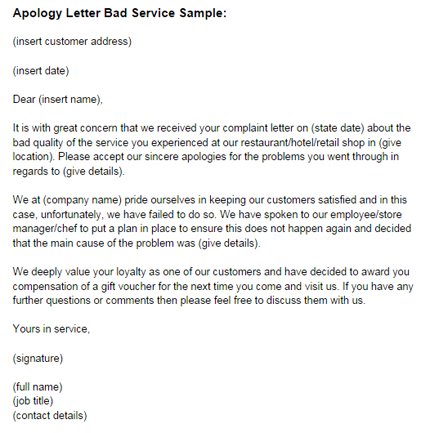 business apology letter for poor customer service Boat