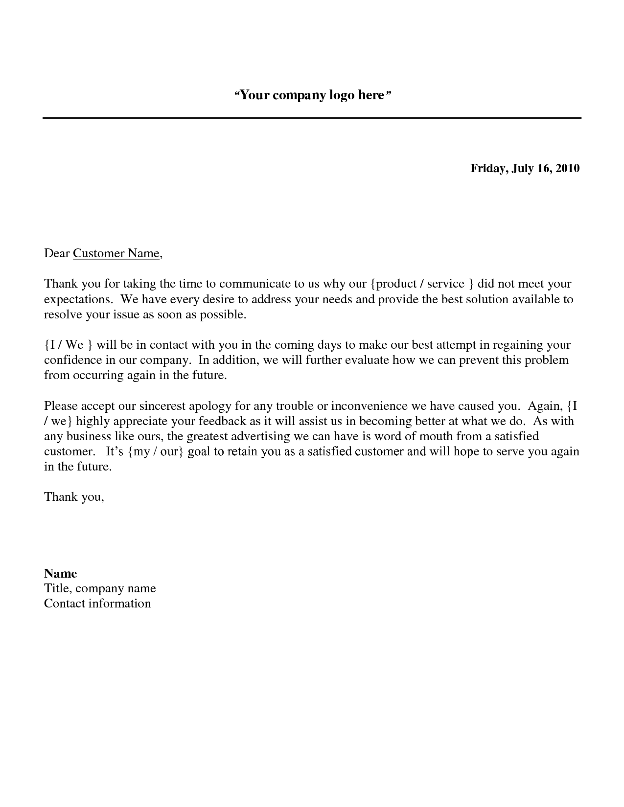 apology letter to customer for error | business letter template