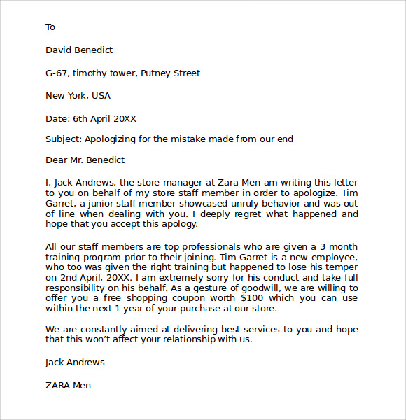Sample Business Apology Letter To Customer For Mistake Or