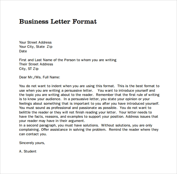 Sample Of Business Correspondence Letter