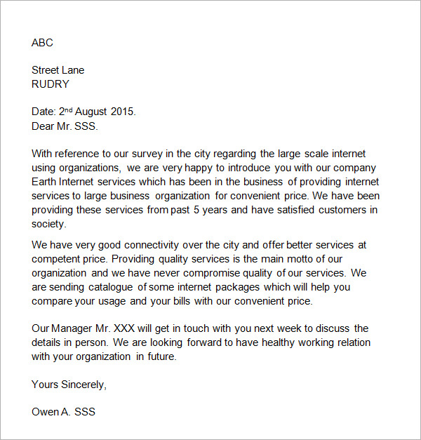 Letter To Get Business