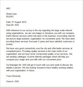 small business introduction letter