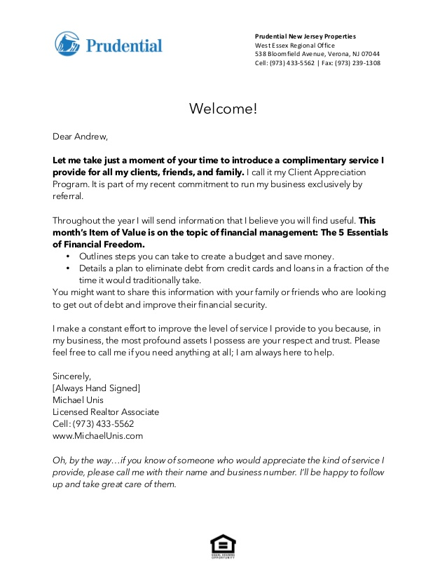 template welcome letter to new clients business introduction