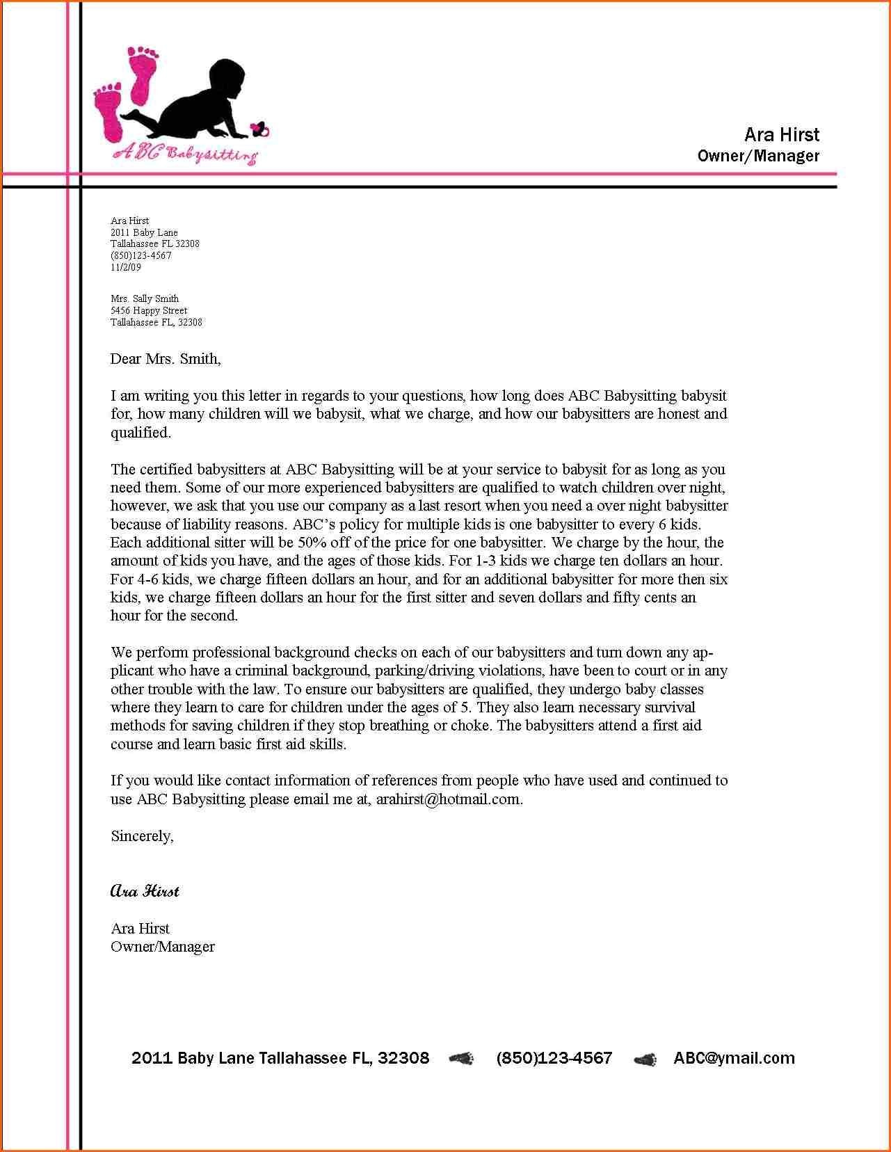 Examples Of How To Format A Business Letter New Business Letter