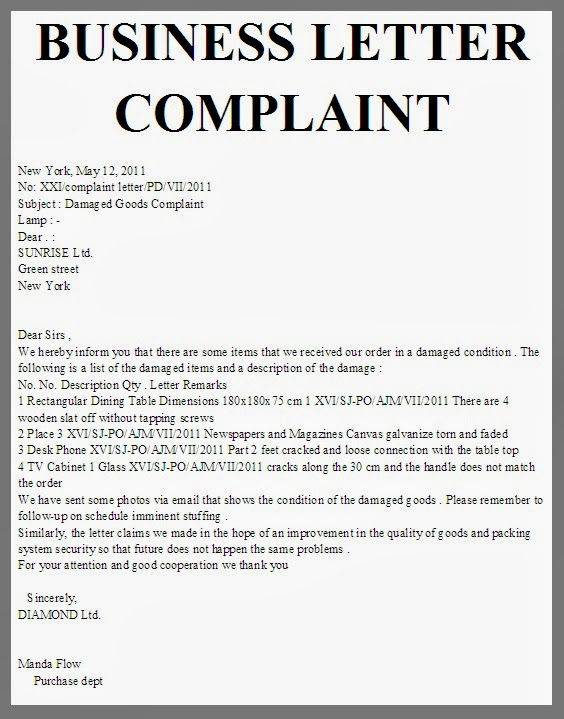 business letter of complaint scrumps