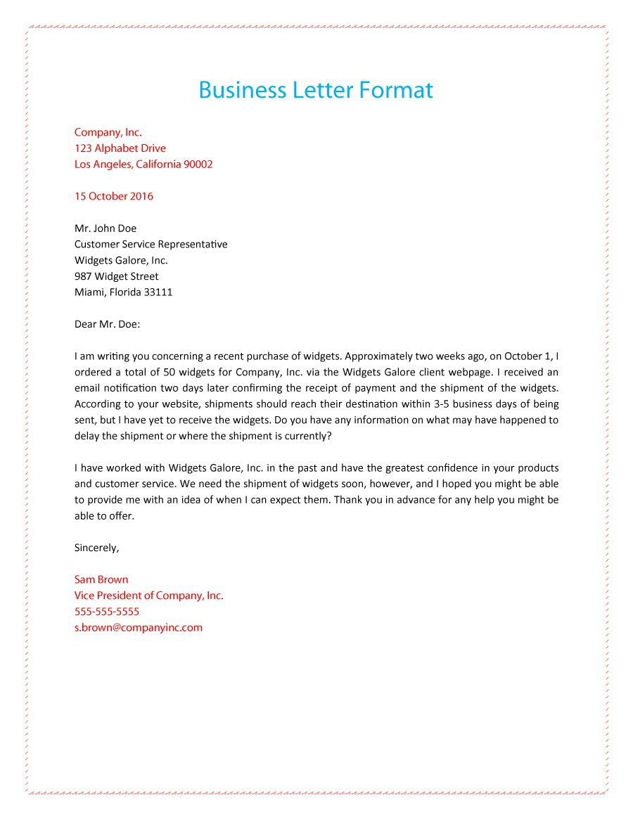 business letter set up