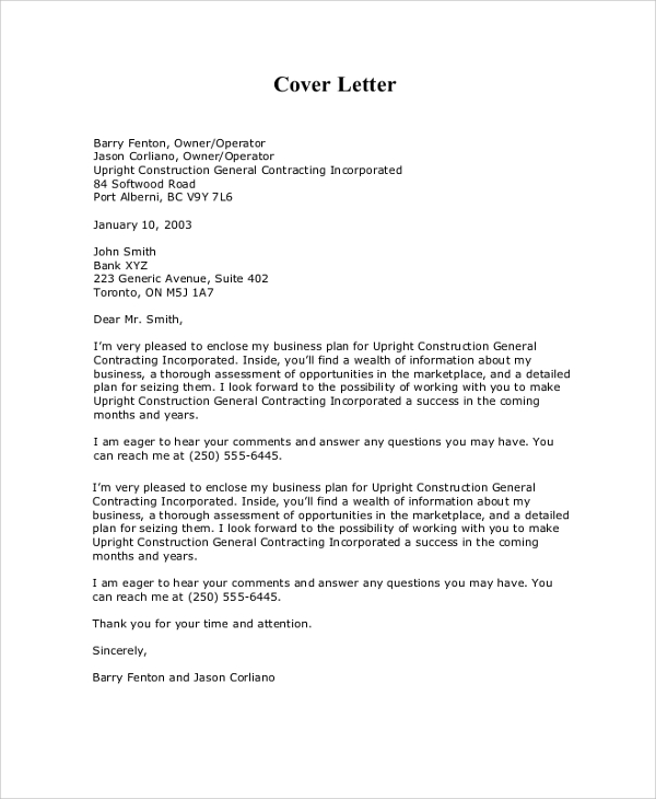 8+ Sample Business Proposal Cover Letters – PDF, Word | Sample