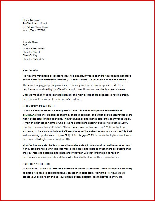 Business Proposal Sample Letter Scrumps