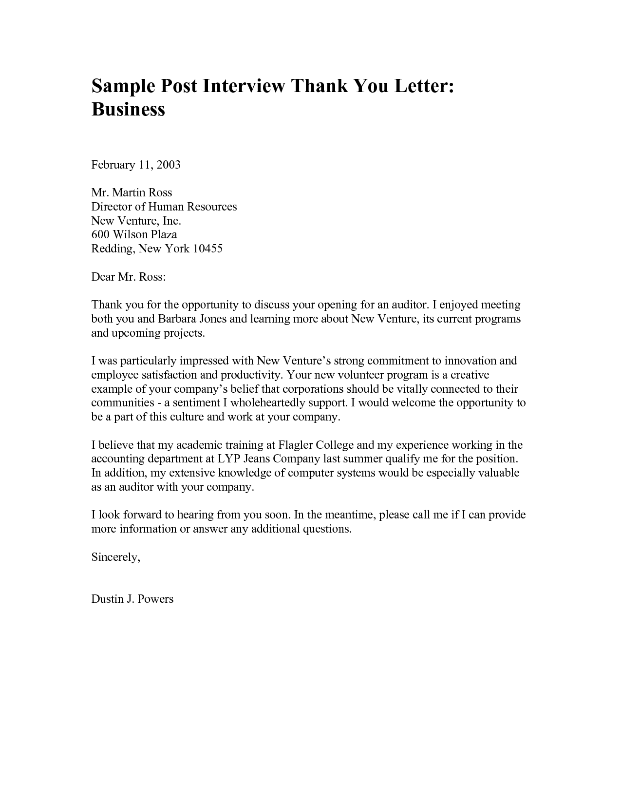 Free Printable Business Thank You Letter Template