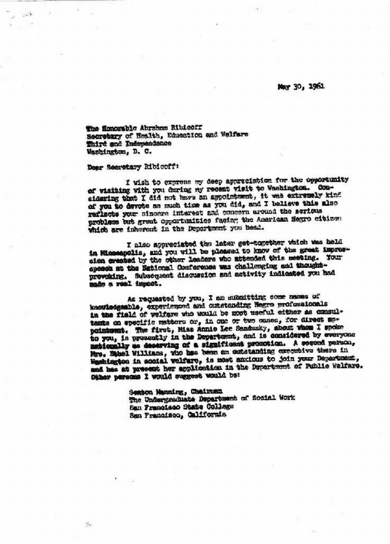 May 30, 1961 Carbon copy of letter John F. Kennedy Presidential