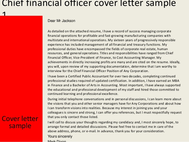 chief financial officer cover letter Romeo.landinez.co