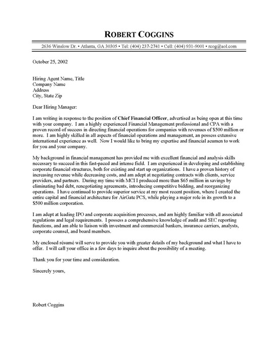 Cfo Cover Letters New Cfo Cover Letter Cover Letter Template