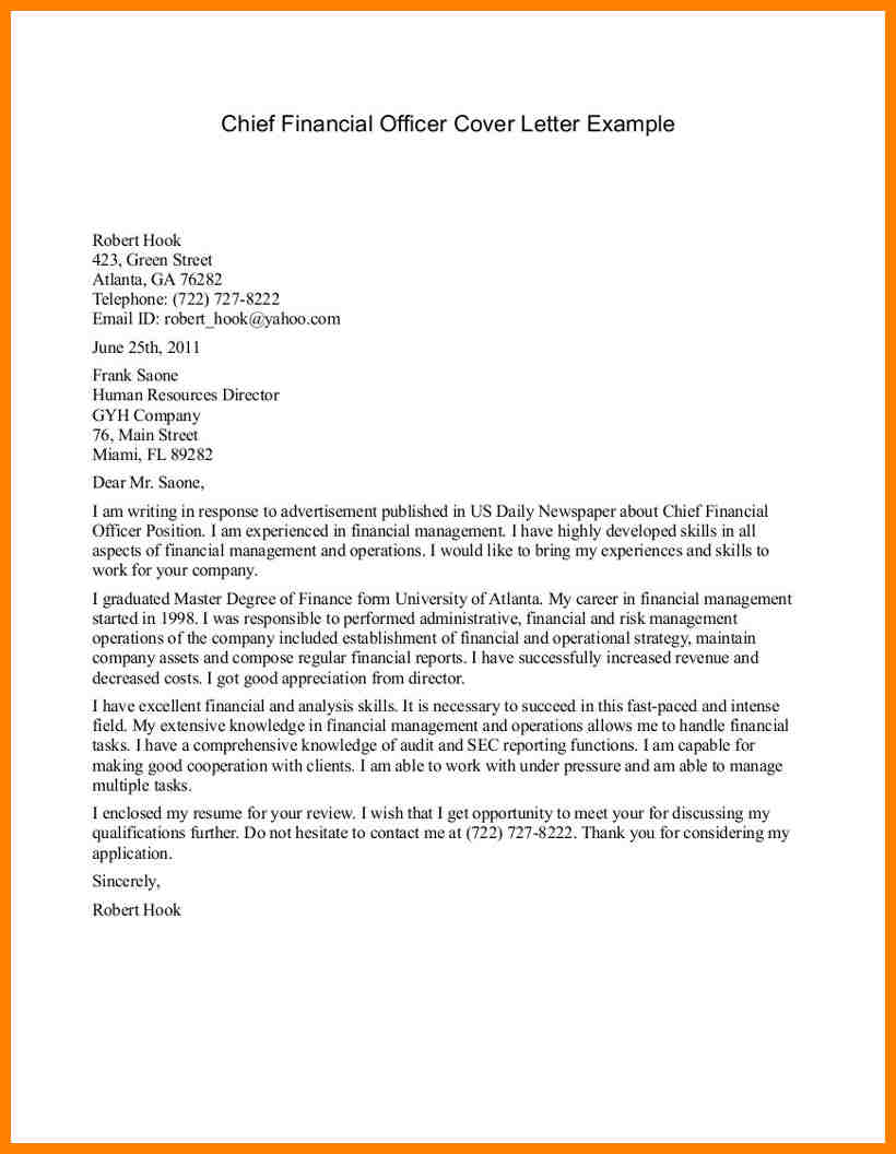 Sample Cover Letter Amazing Cfo Cover Letter Cover Letter Template