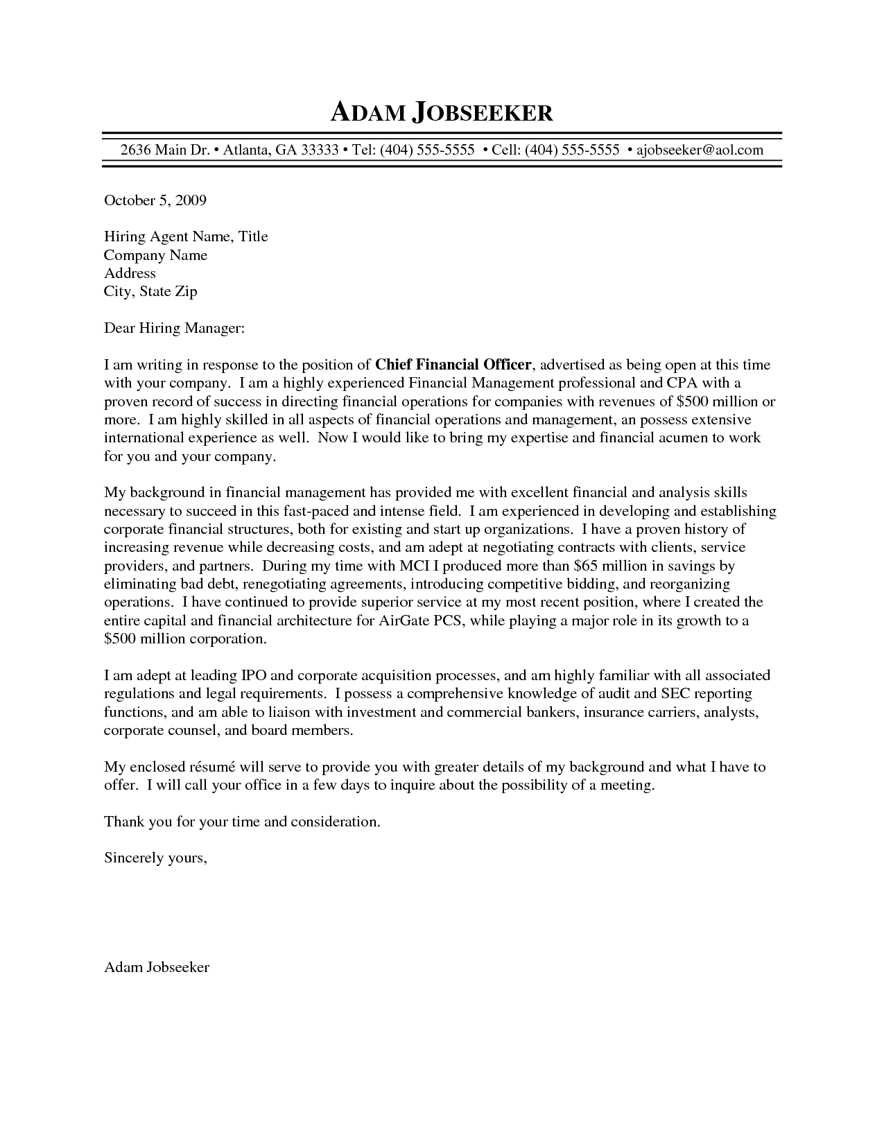 Sample Cover Letter Good Cfo Cover Letter Sample Resume and