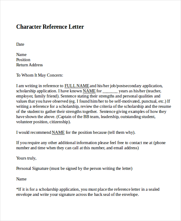 Elegant Example Character Reference Letter | three blocks