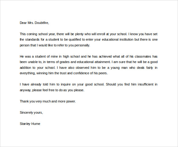 free recommendation letter for a student Boat.jeremyeaton.co