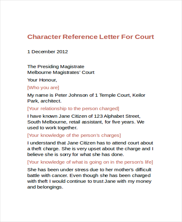 Letter Of Character Reference | Crna Cover Letter