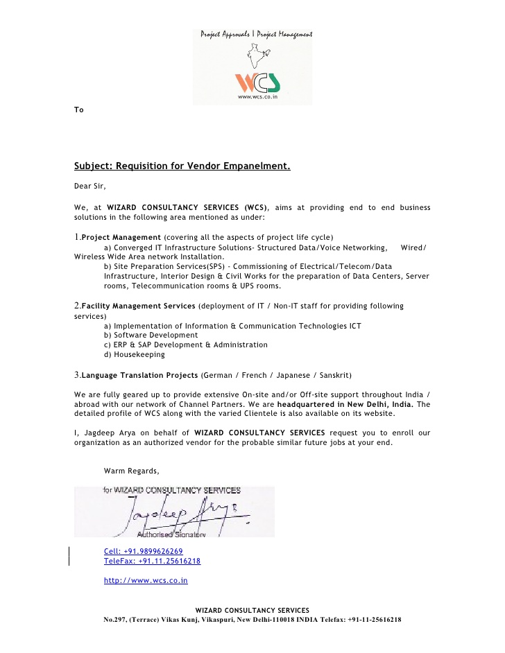 2.0) Company Introduction Cover Letter For Profile Booklet