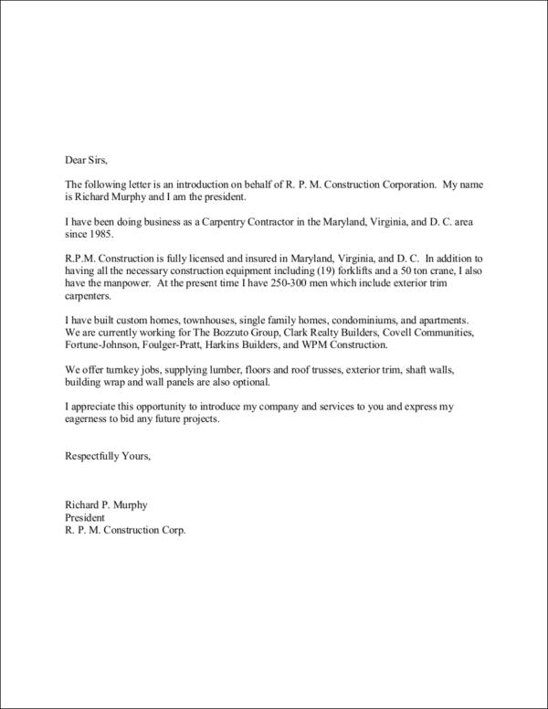 11 Company Introduction Letter Samples & Templates   Sample Templates