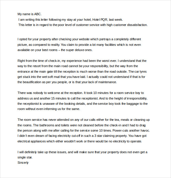 Sample Complaint Letter for Bad Service