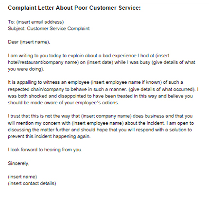 Complaint Letter Poor Customer Service Sample | Just Letter Templates