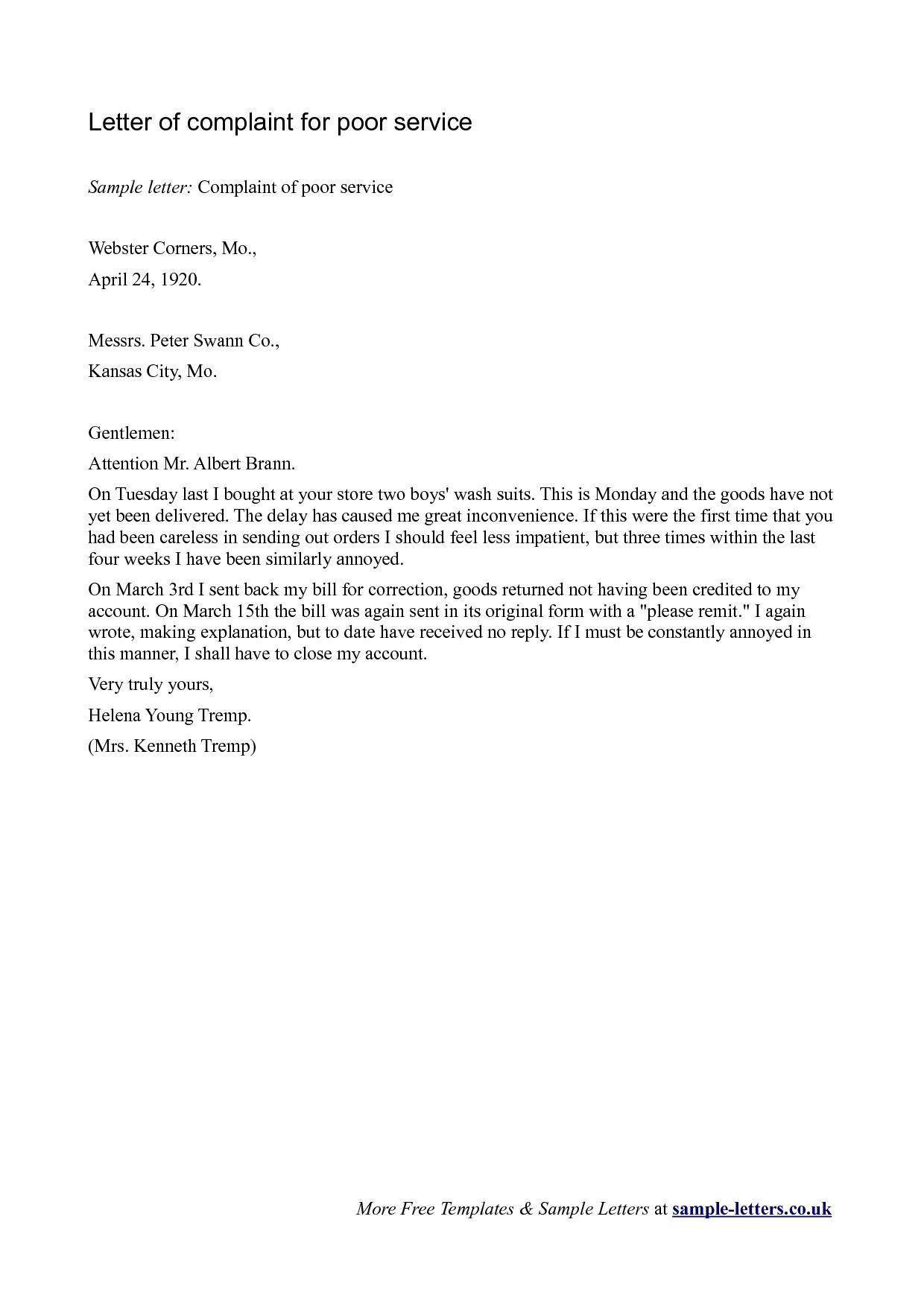 complaints letter for poor service Boat.jeremyeaton.co