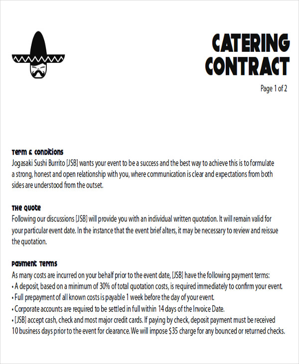 Catering Contract Proposal Letter