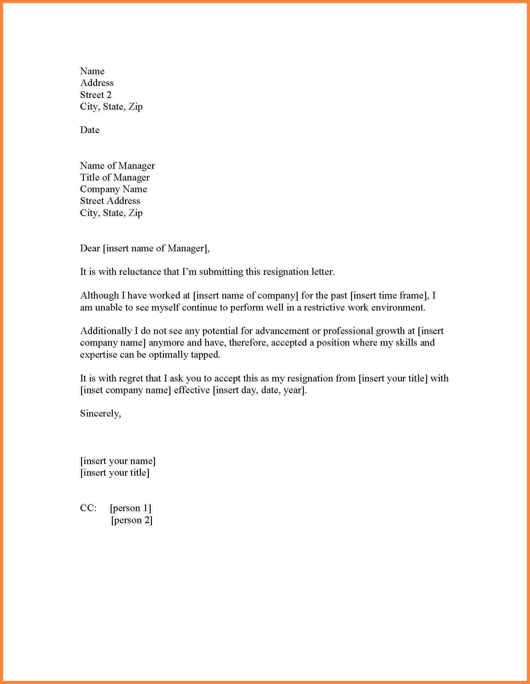 Copy Of Resignation Letter | scrumps