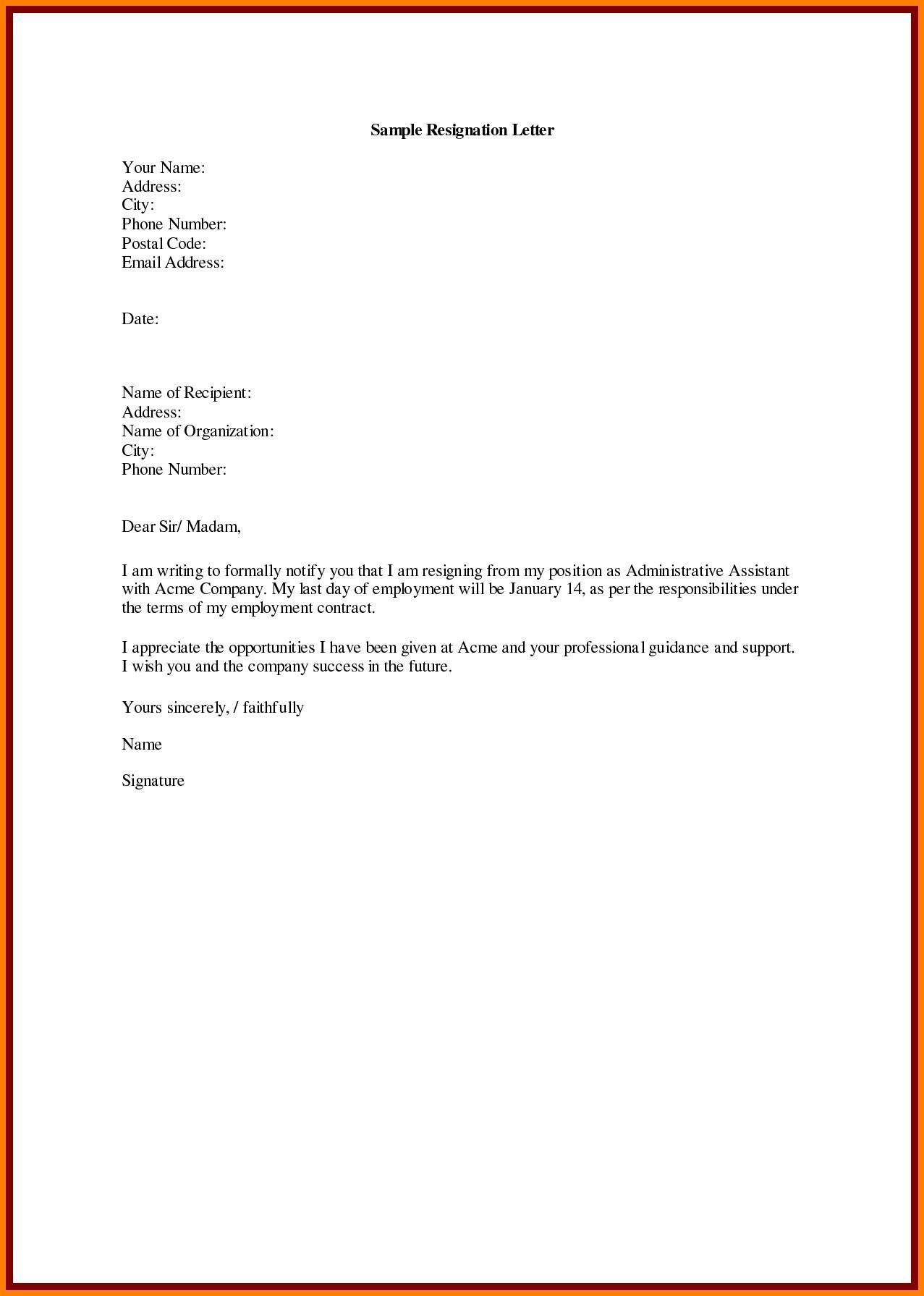 copy of resignation letter