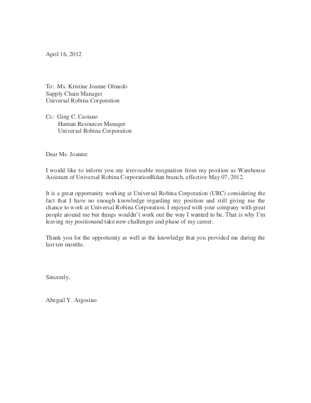 Copy Of Resignation Letter Scrumps