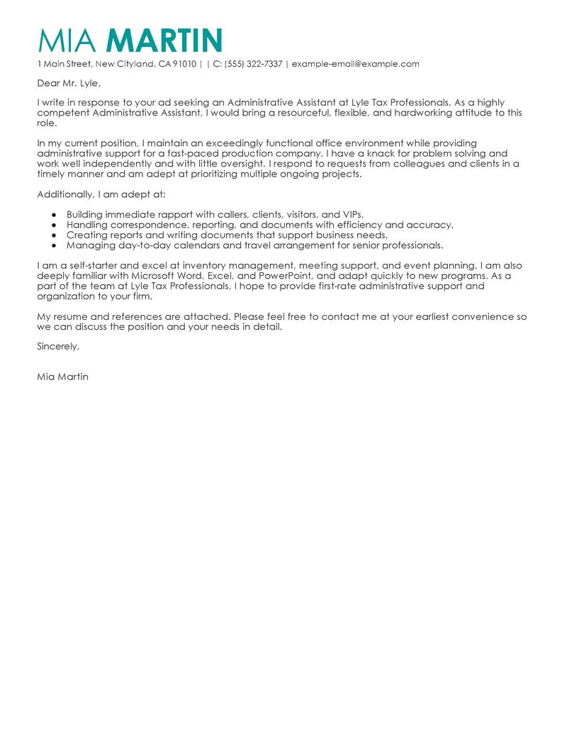 Cover Letter For Administrative Assistant Template Cover Letter