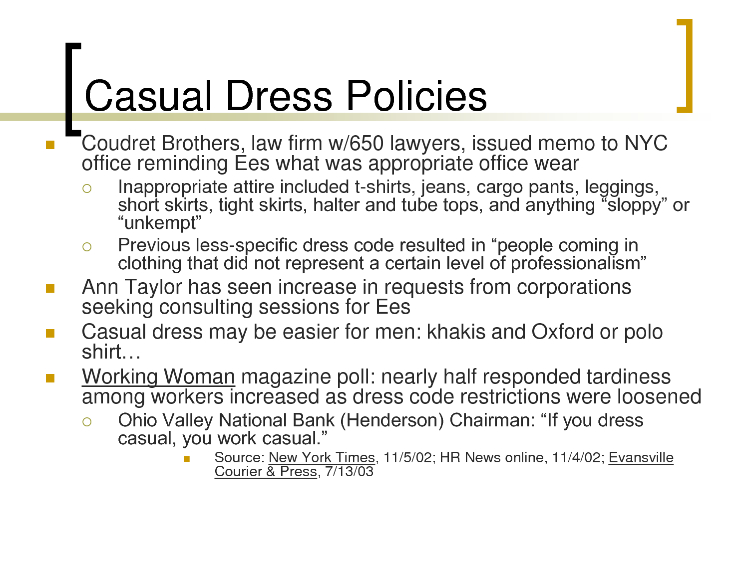Canadian dress code policy for offices