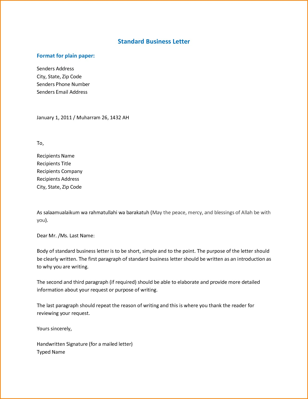 Email Business Letter Format Scrumps