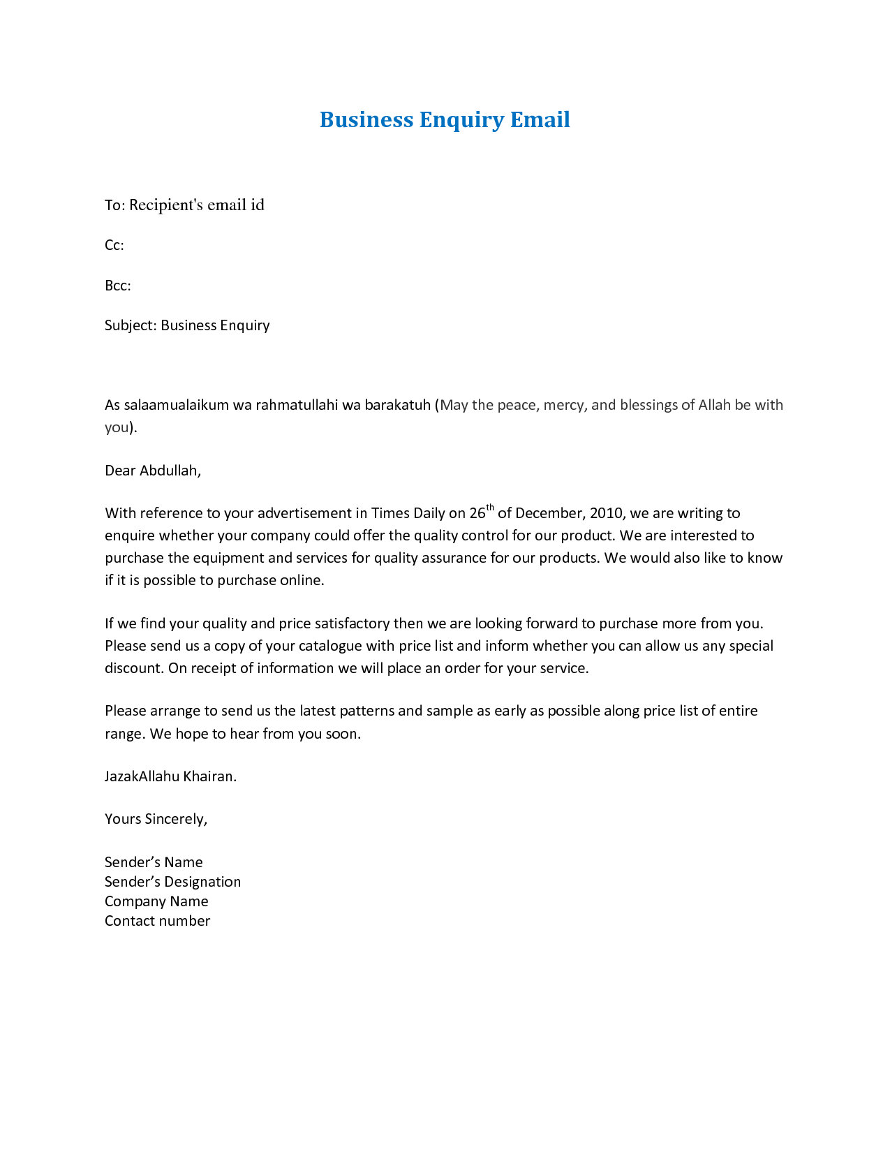 email business letter format