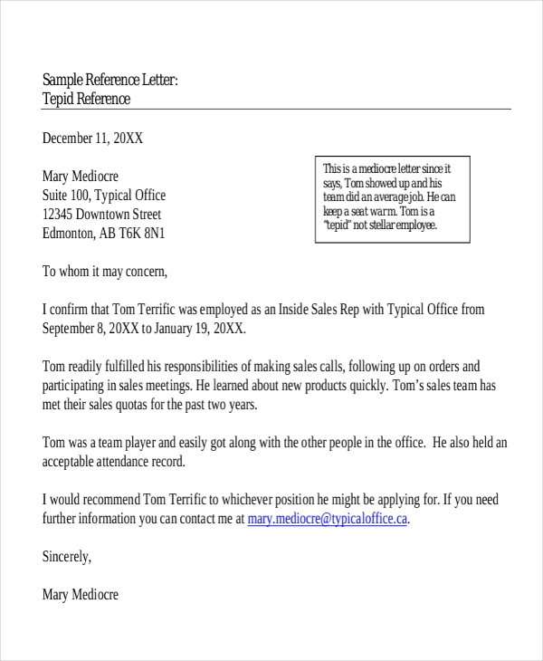 sample reference letter for employment