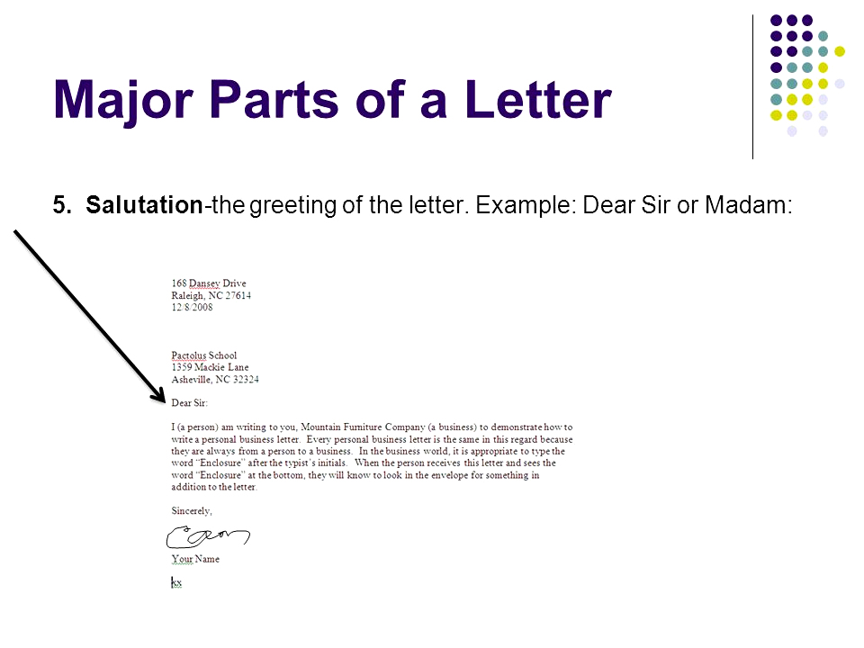 Part of a letter salutation major parts 5 the greeting example 3 a