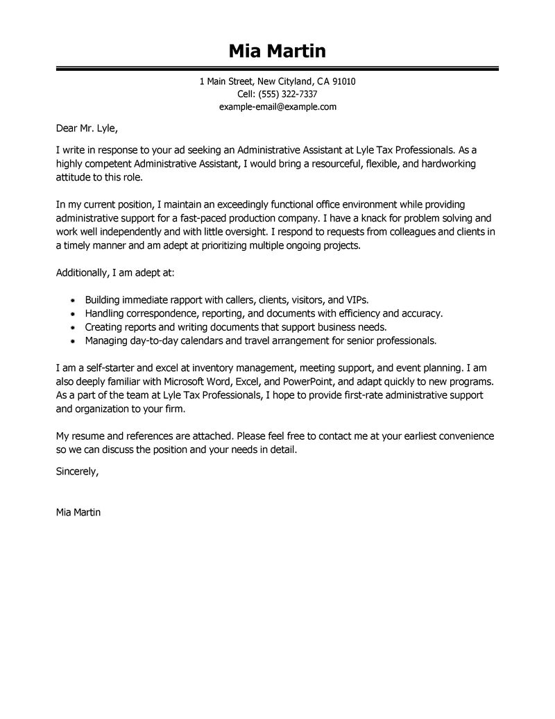 Administrative Assistant & Executive Assistant Cover Letter