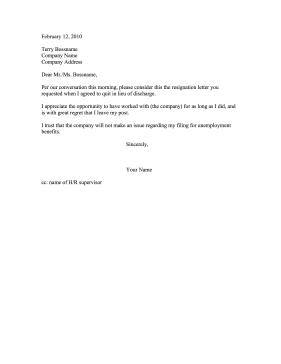Forced Resignation Letter Sample | scrumps