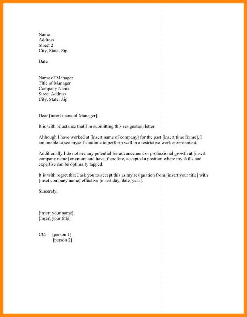Resignation Letter Sample Forced Images Design Example Of Company