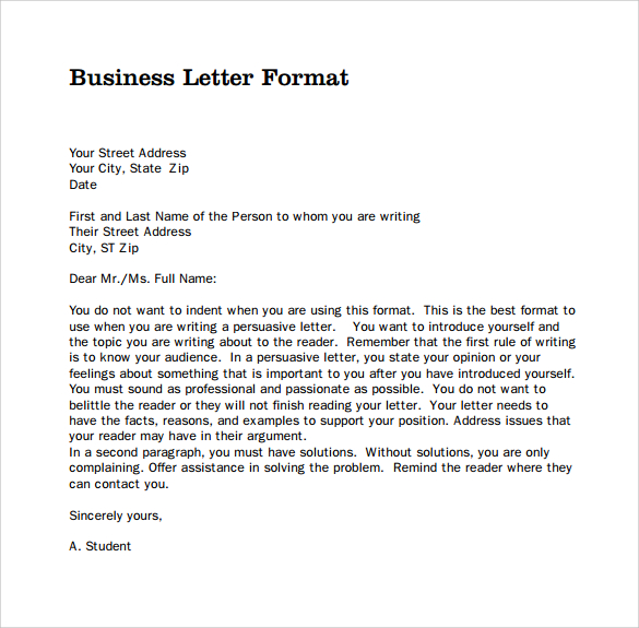 Business Letter Form | Business form templates