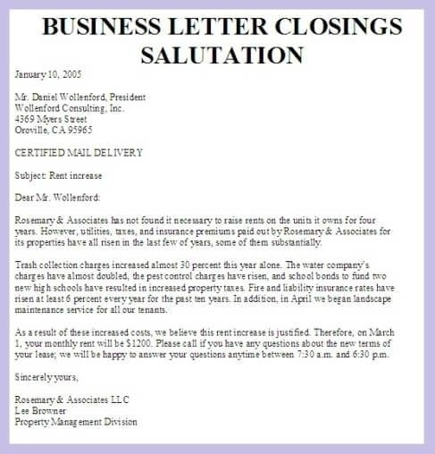 Formal Business Letter Closings Scrumps
